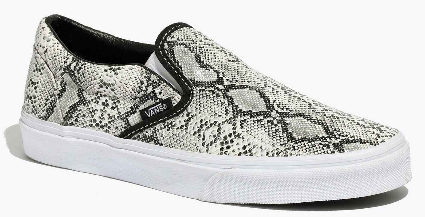 Vans classic slip-on sneaker in python print- $55