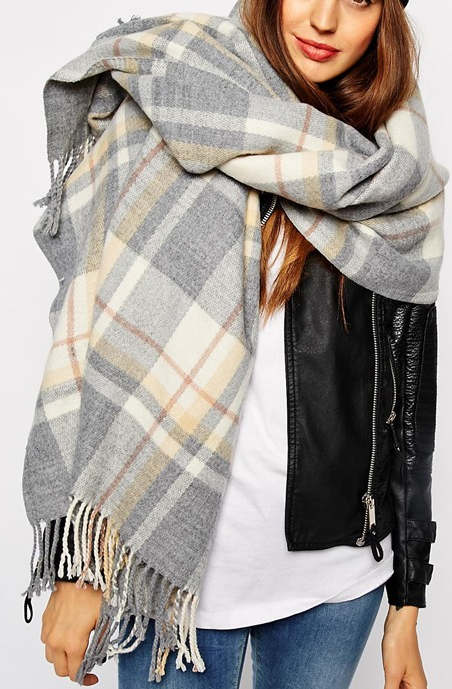 ASOS grey plaid scarf- $34