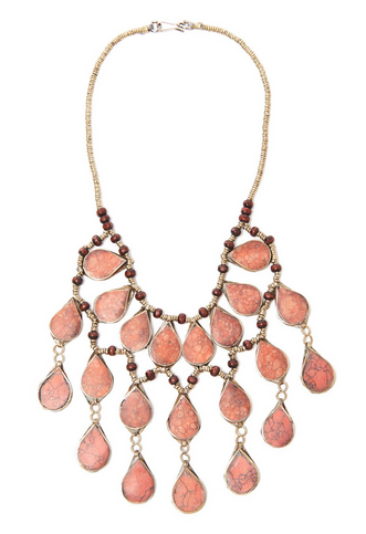 Coral and wood bead necklace, $22.50