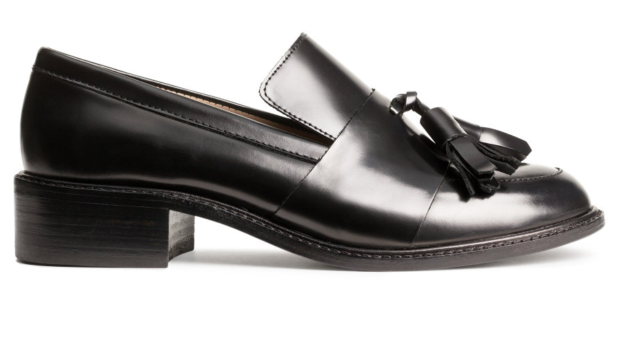 H&M leather loafer- $39.99 (was $79.99)  Hands-down THE shoe of the season. Will give your flirty dresses and skirts an  Annie Hall  feel. Just add blazer.