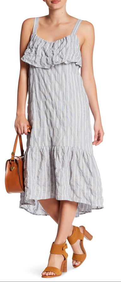 Lush ruffle hem linen-blend dress - $29.99