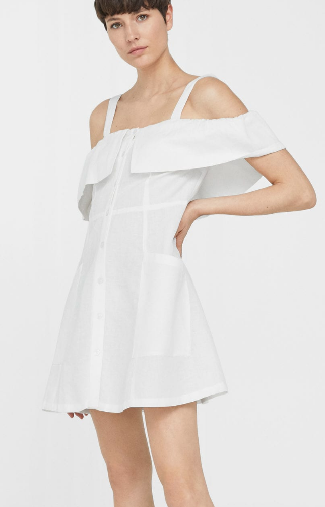 Mango linen cold shoulder dress - $59.99