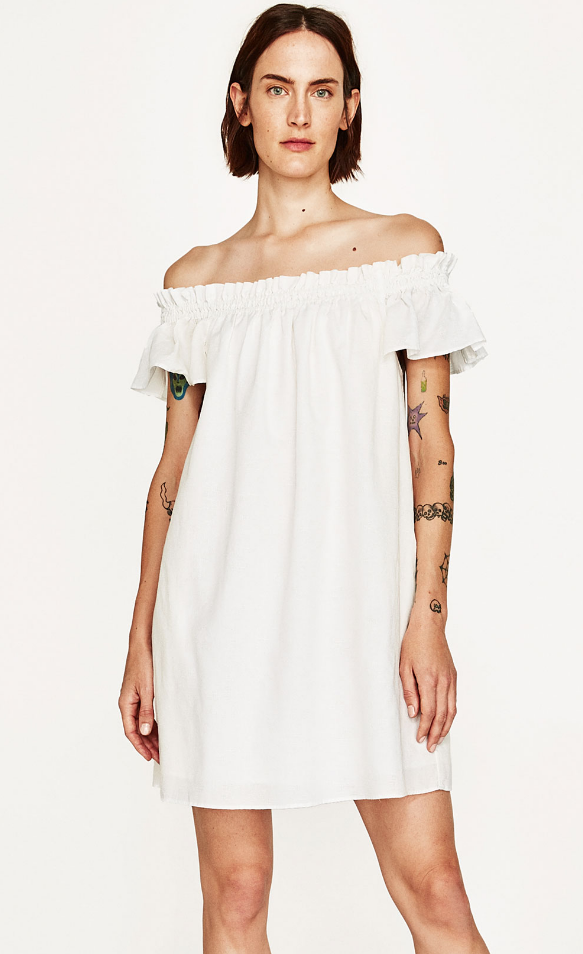 Zara off-the-shoulder linen blend dress - $39.90