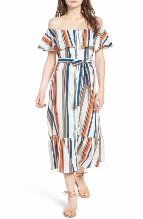 Moon River striped off shoulder midi dress - $29 (was $110)