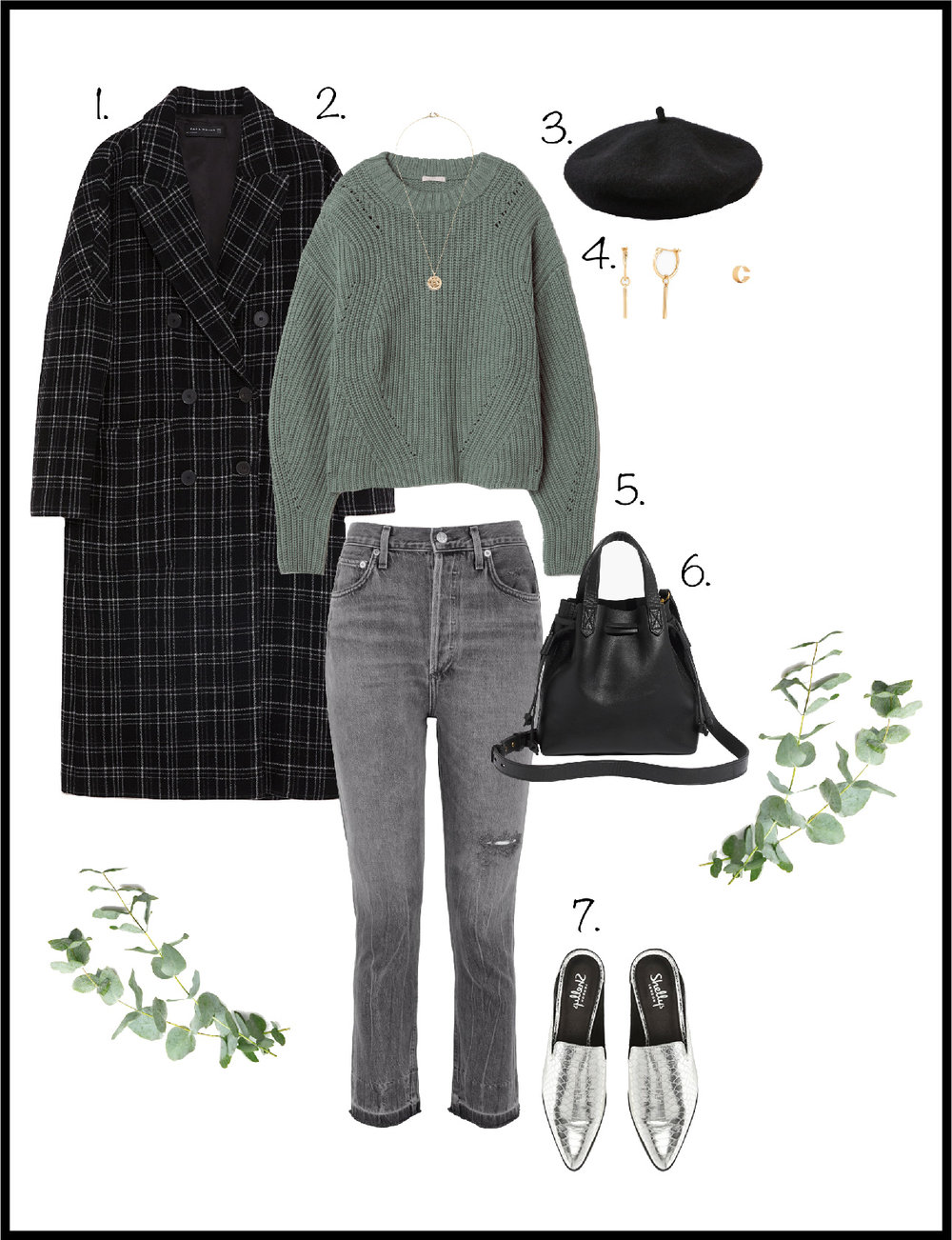 1. Coat:  Zara , 2. Sweater:  H&M , 3. Beret:  American Eagle , 4.  Earrings  &  Cuff : Mejuri, 5. Jeans:  Agolde , 6. Bag:  Madewell , 7. Shoes:  Shellys London
