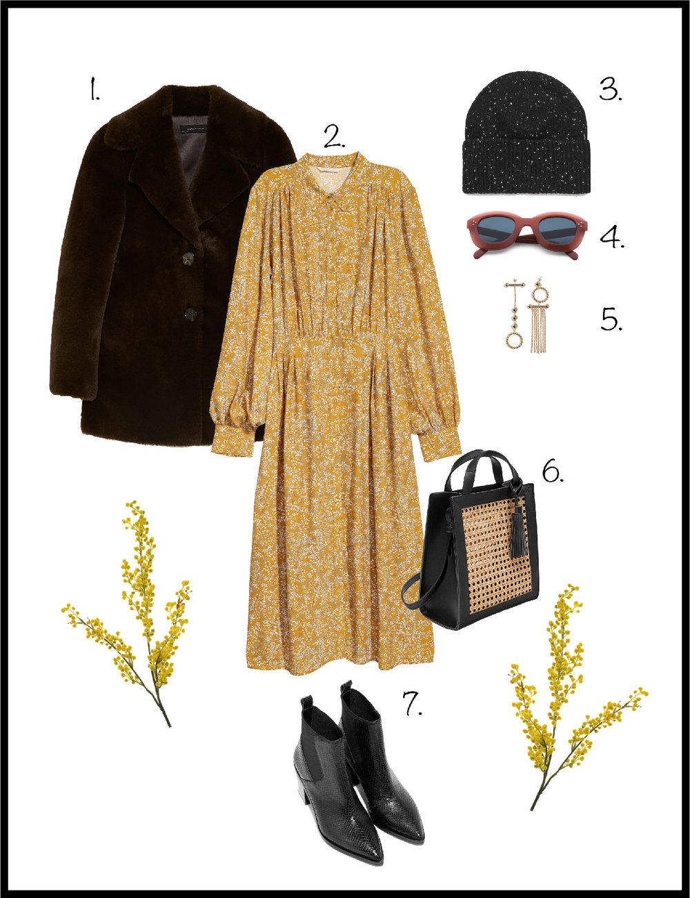 1. Coat: Zara, 2. Dress:  H&M , 3. Hat:  Cos , 4. Sunglasses:  Celine , 5. Earrings:  & Other Stories , 6. Bag:  Mango , 7. Boots:  & Other Stories