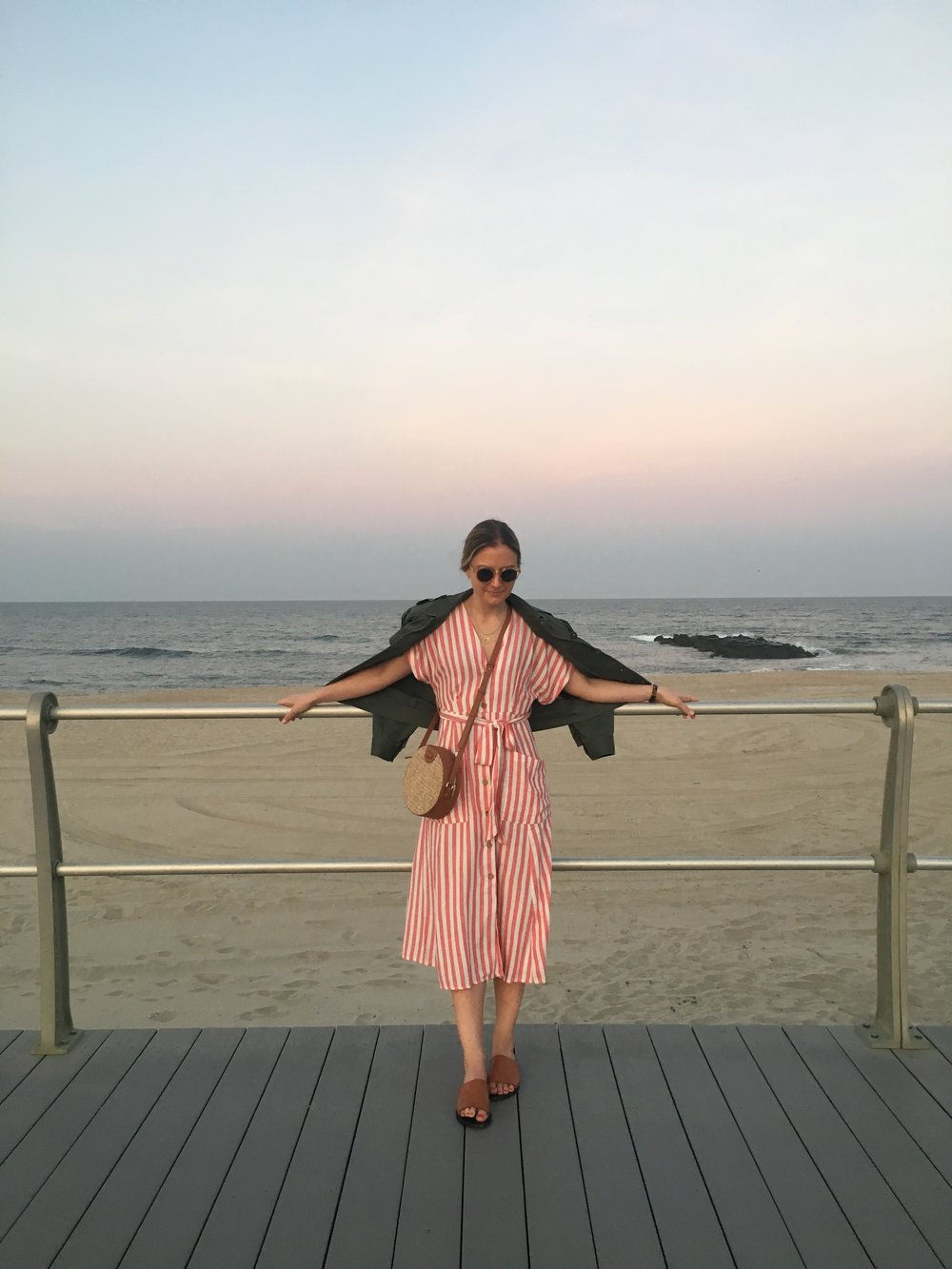 Mango  dress , Rebecca Taylor jacket, Steven Alan  bag , Sol Sana  slides , Raen sunglasses ( similar )