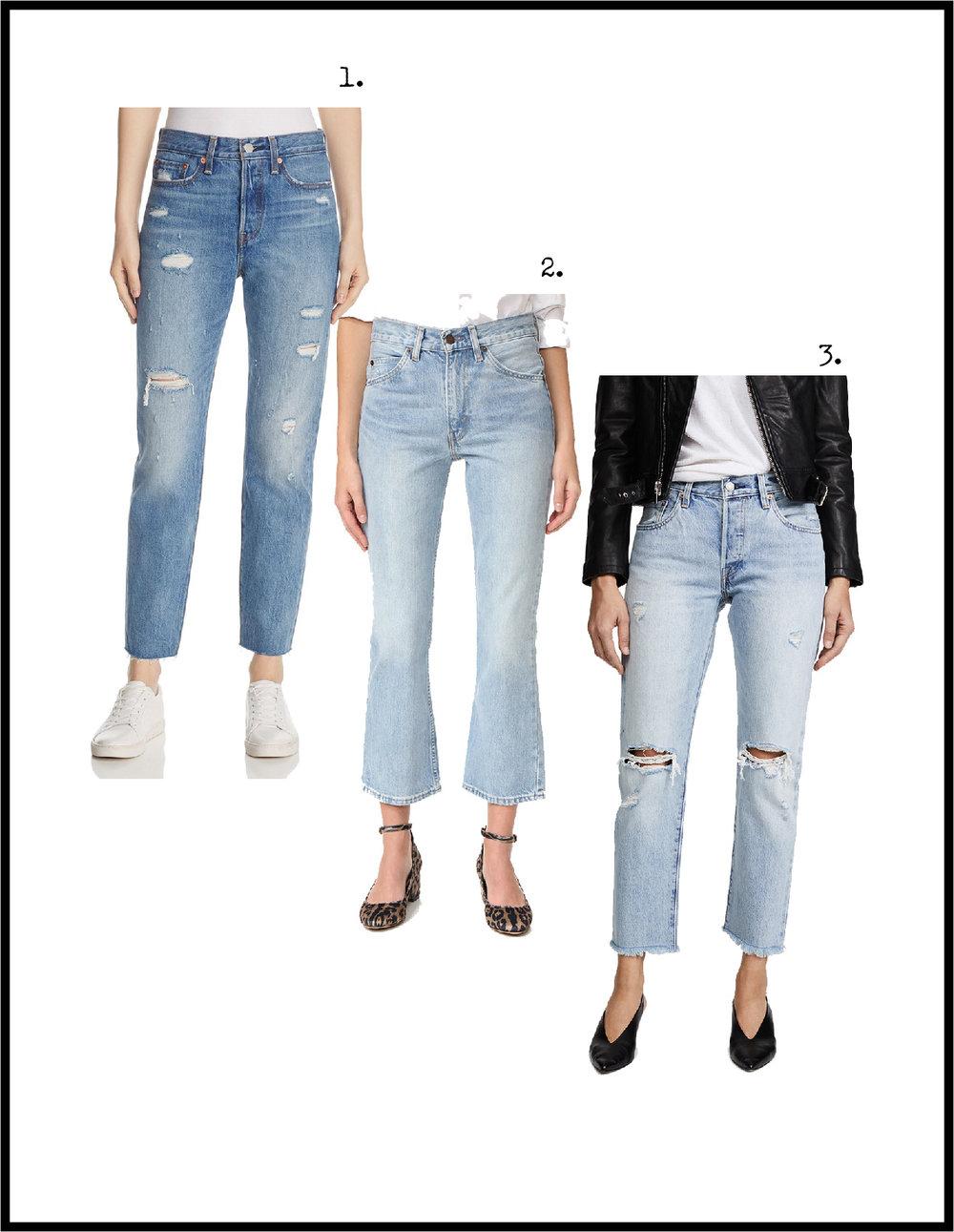 1.  Crop Wedgie Jeans , 2.  Crop Flare Jeans , 3.  Crop 501 Jeans