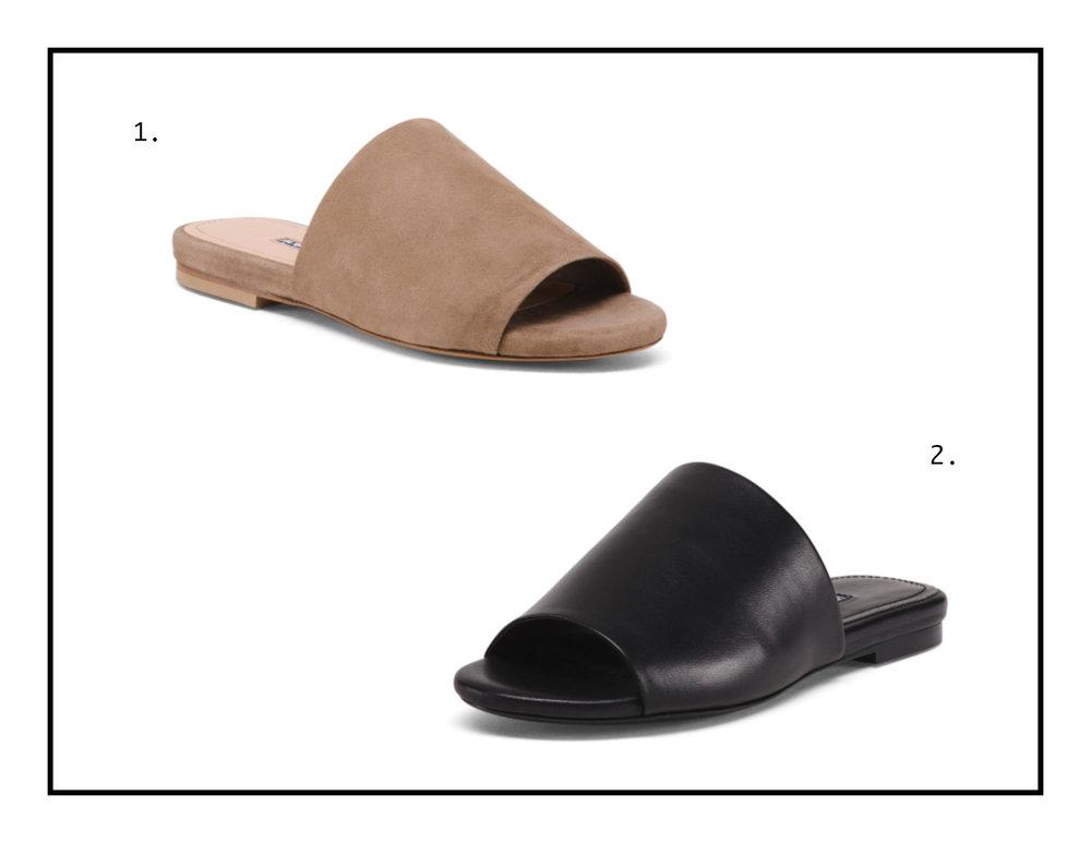 1.  Suede Slide  2.  Leather Slide
