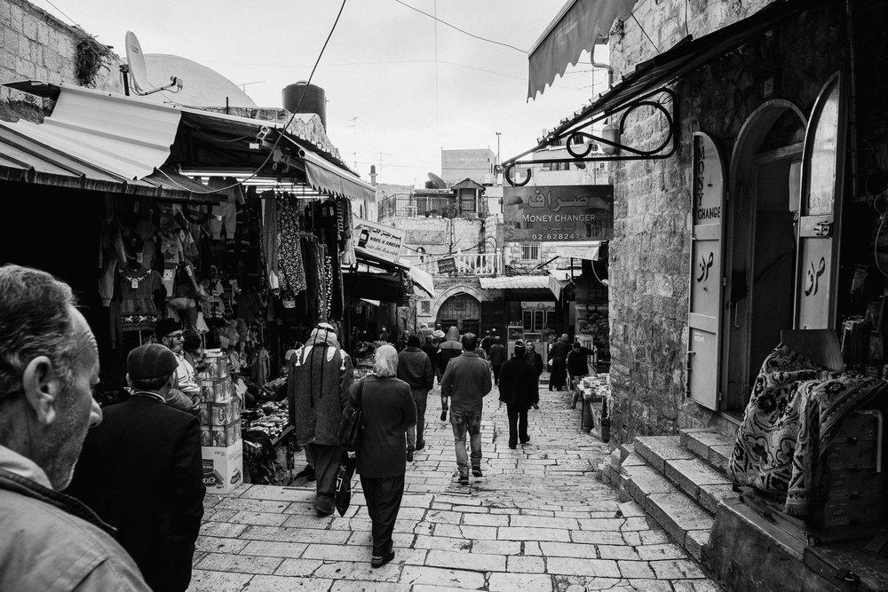 Follow the crowds. It's Friday, so most Muslim men are headed towards al-Ḥaram al-Šarīf for prayer.