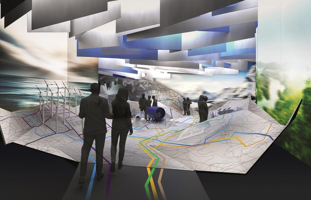 """Die """"Map of the Future"""", der zentrale Raum des Deutschen Pavillons auf der EXPO 2017 in Astana."""