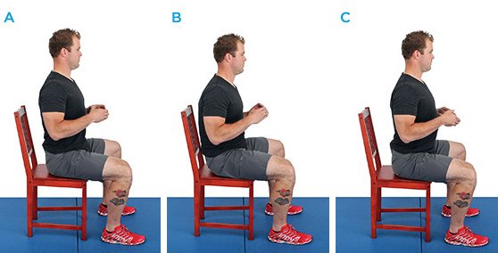 A:  Proper spinal alignment   B:  Rounded forward    C:  Overextended