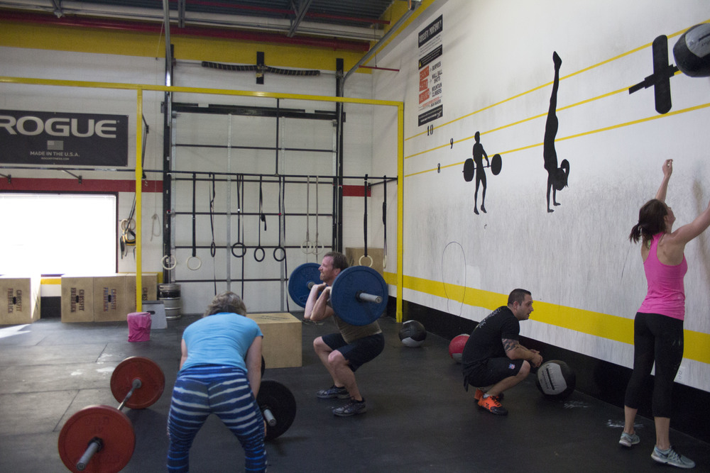 Jill,Peter,Mike D, & Laurie during a Team WOD
