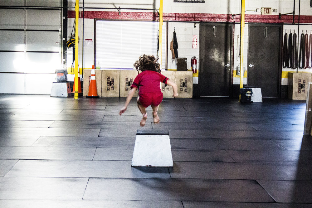 "Our daughter, Sloane jumping onto the 16"" box."