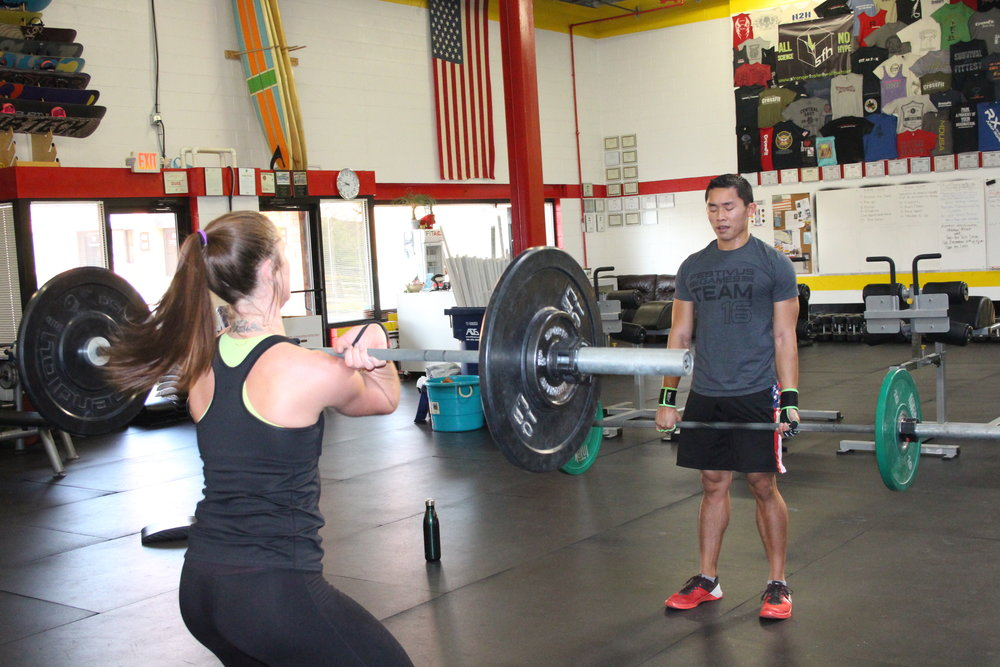 Heather and Kevin during the Team WOD on Saturday.
