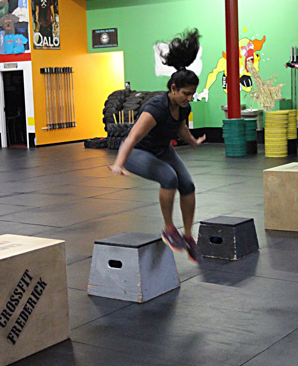 "Sarada jumping over a 16"" box."
