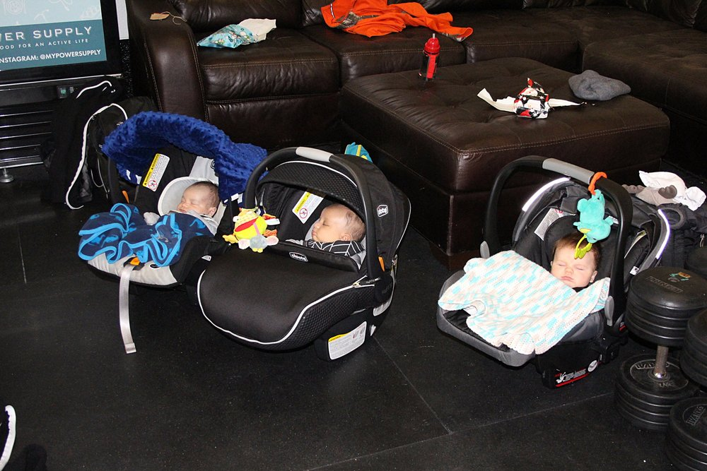 Nine a.m. was baby time at the gym yesterday. They were all napping. So cute!