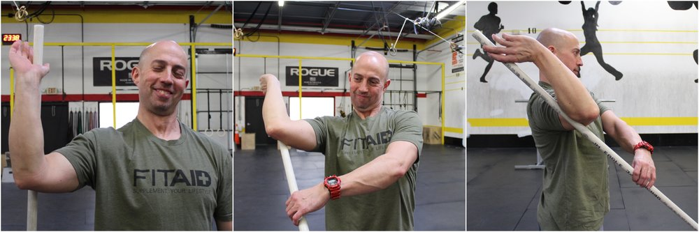 Start by holding the PVC vertically in one hand with your elbow out to your side and at a 90 degree angle.  Maintain grip on the PVC and begin to raise the PVC with your opposite hand, raising the elbow while sending the top hand back and down.
