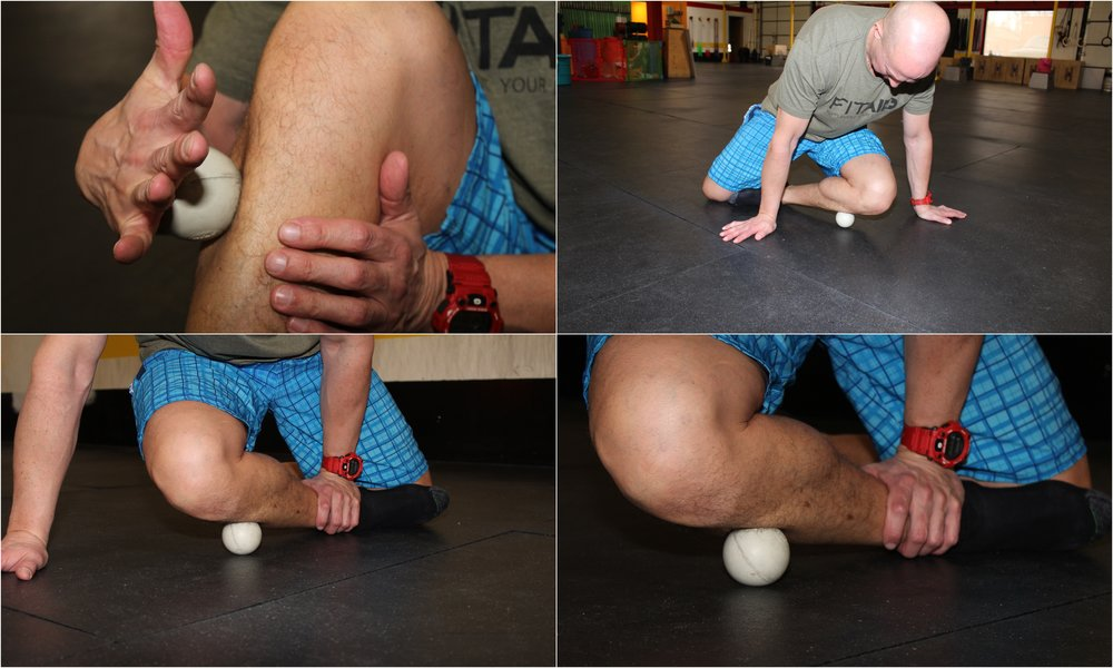 Roll on each side of the shin bone with a lacrosse ball.  To make this extra special, twist your legs so the heel of one foot is resting on the knee of the opposite leg.  Place the ball to the side of the shin bone and rotate up on top of it.  Move it left and right, keeping that ankle pinned.  Oh yeah...