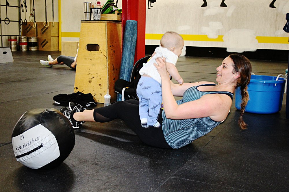 Who needs a med ball for Russian twists when you have a baby! Reminder: Gym closed April 22nd for the 3rd Annual USPA Mid-Atlantic Classic.