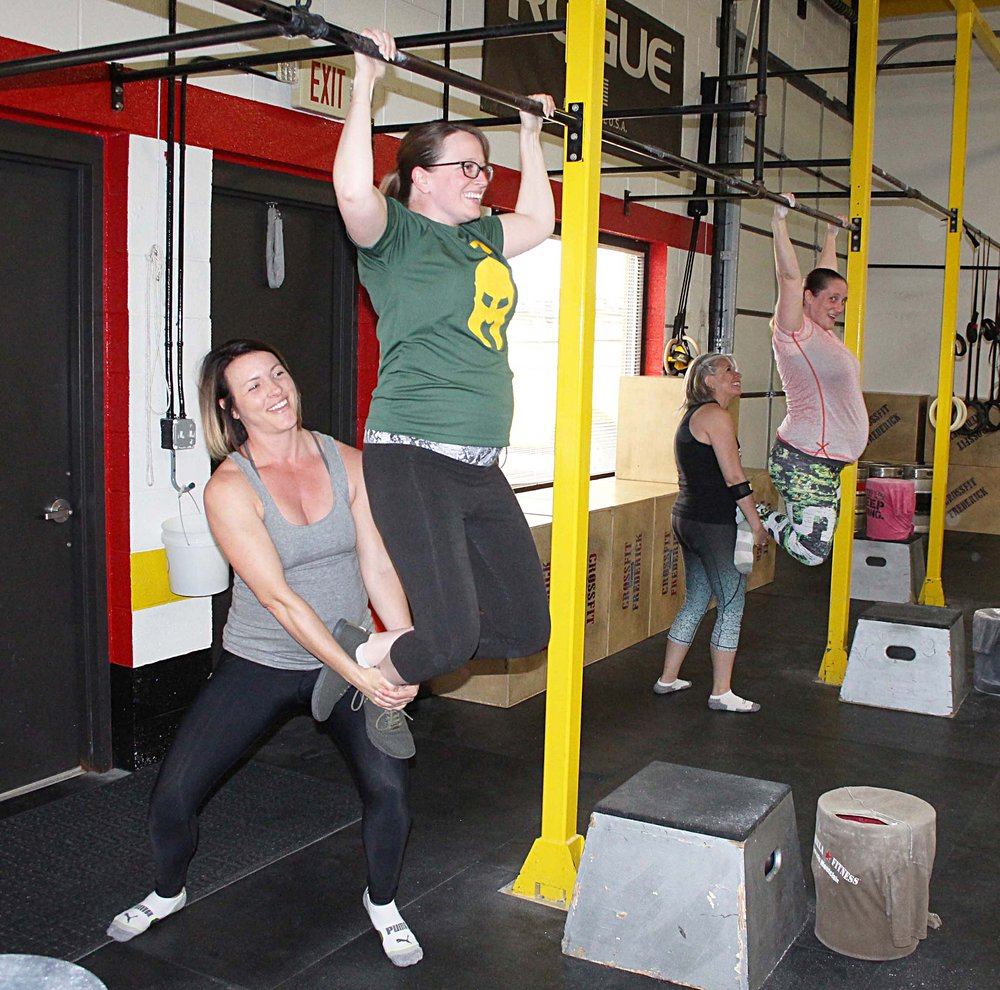 Partner-assisted Pull-ups and yes, three of these ladies are pregnant!!!