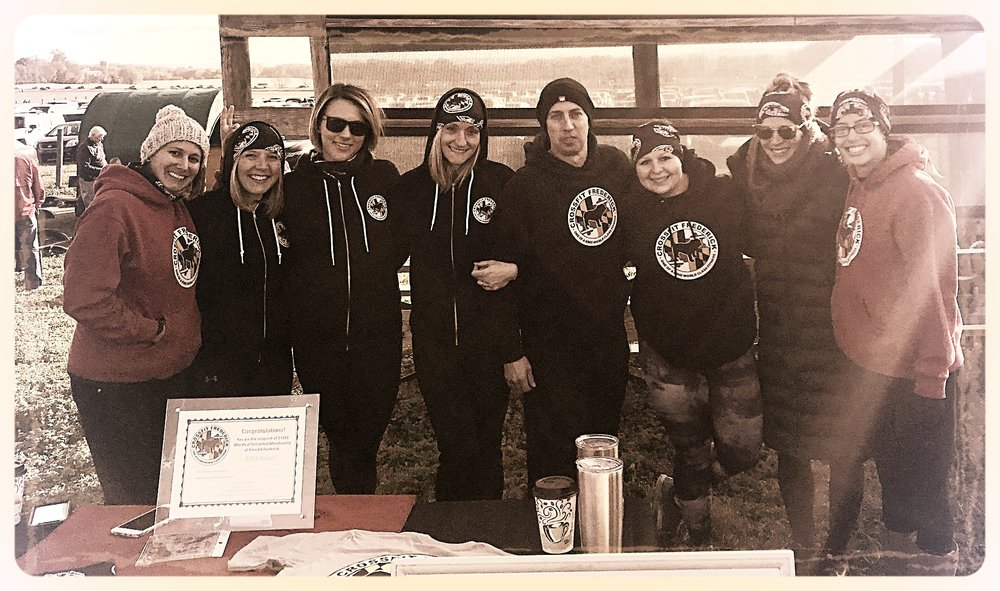 The CFF crew hanging out and warming up the runners at The Great Pumpkin Run this past Saturday.