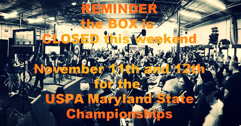 Closed 11/11 and 11/12 for Powerlifting. Spectators welcome for $10.