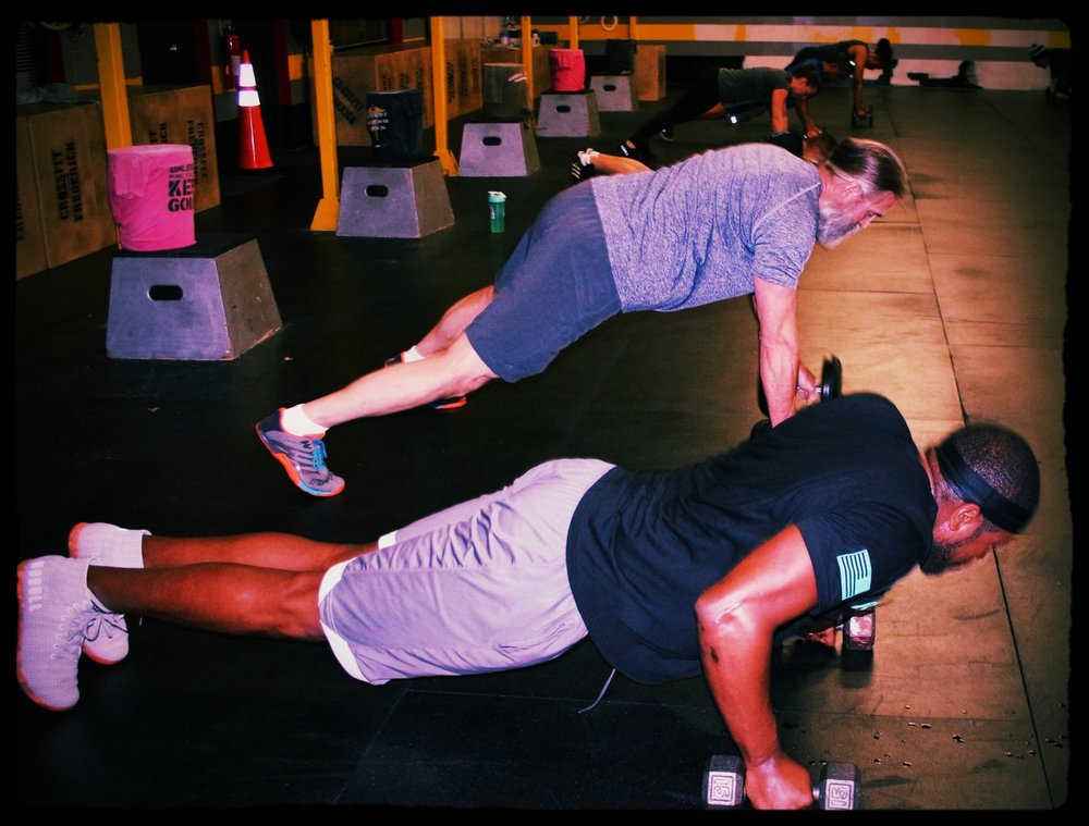 Man-makers: using dumbbells do a push-up + row, right + push-up + row, left + push-up + jump to feet + db squat clean + thruster + overhead lunge, right + overhead lunge, left. All of that equals FUN and sweat!