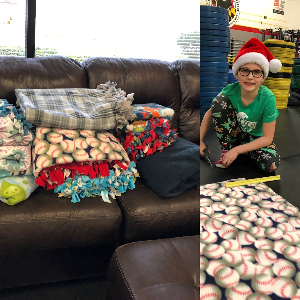 We had so much fun hosting the Wine & Blanket Making Party to make blankets for the homeless. Thank you Haley Bauer and Trish Cassidy for the opportunity!!!  Please let me know if you need to use the gym in the future. We are happy to open our space for any charity event.
