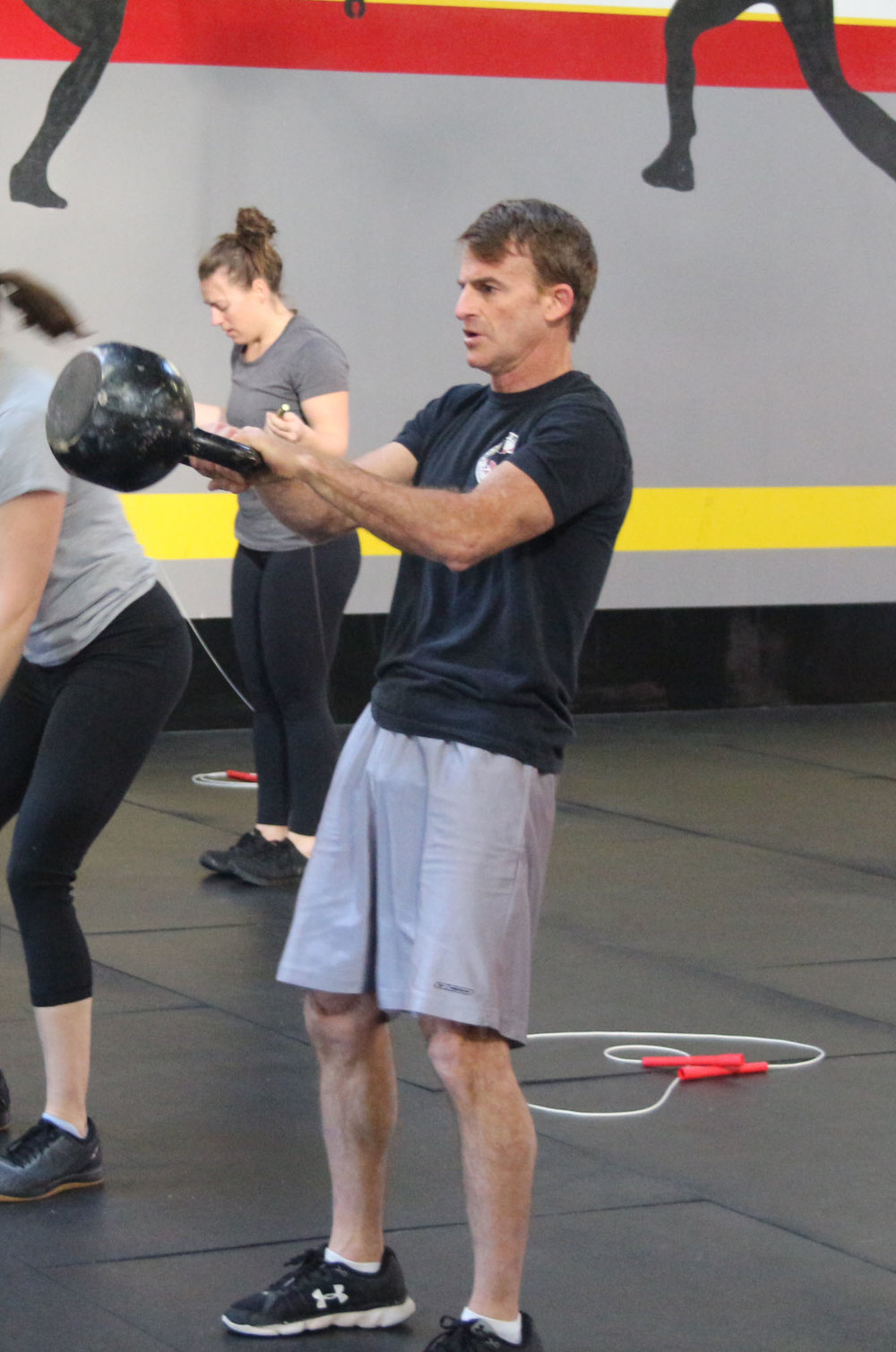 Stu swinging a 70lb Kettlebell. Have a fabulous birthday!