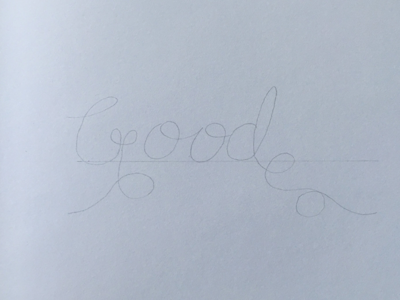 2. I also prefer to lightly draw the word in pencil, before tracing it in marker. This allows me to adjust any weird spacing issues, or if I just don't like how a letter turned out, before I commit to ink.