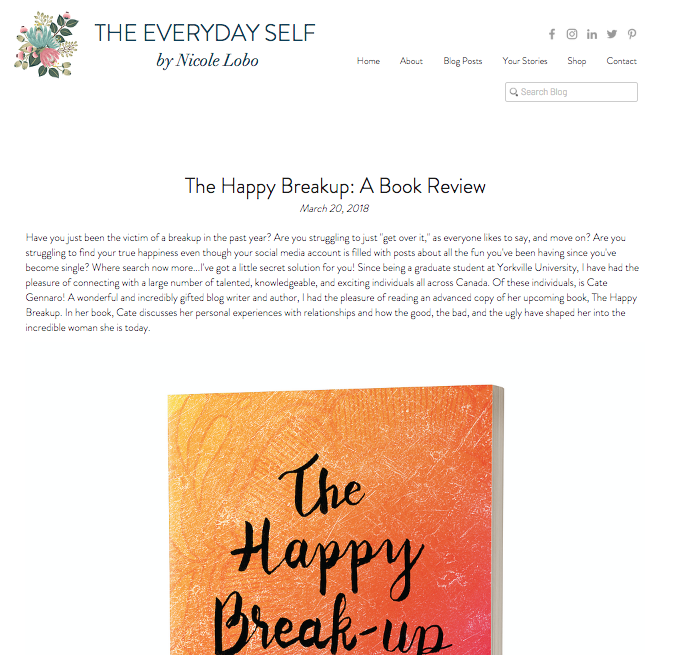 The Happy Break-up Book Review by Nicole Lobo @ The Everyday Self