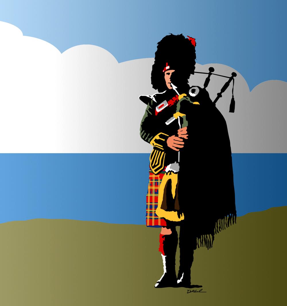 Graphic Illustration of Scottish Piper