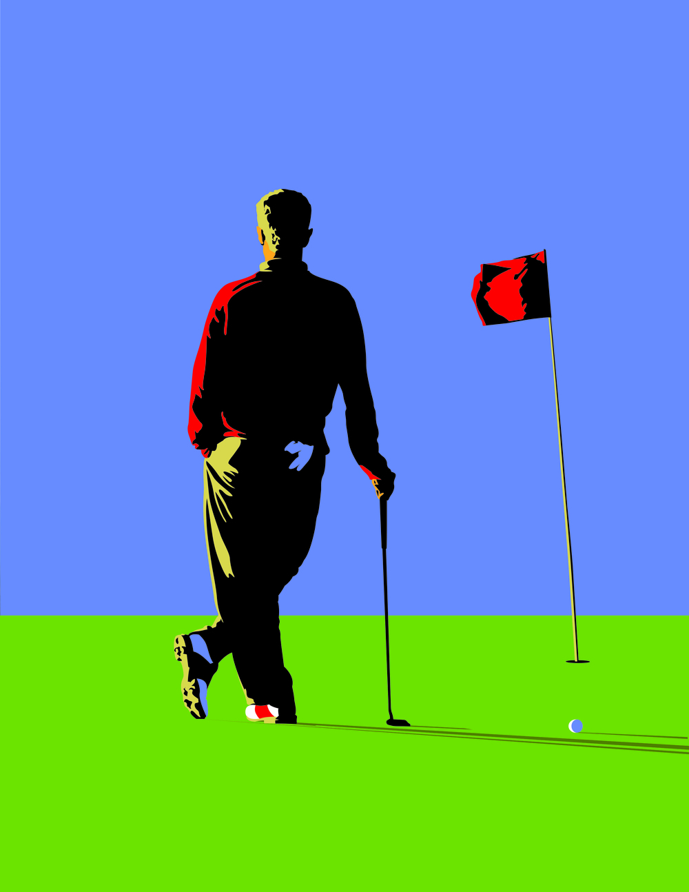 Graphic Illustration of Golfer