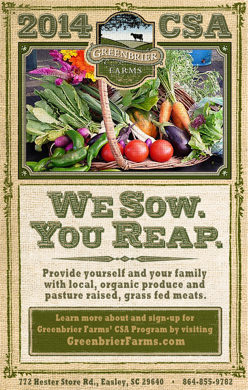 Greenbrier Farms 2014 CSA Program Poster