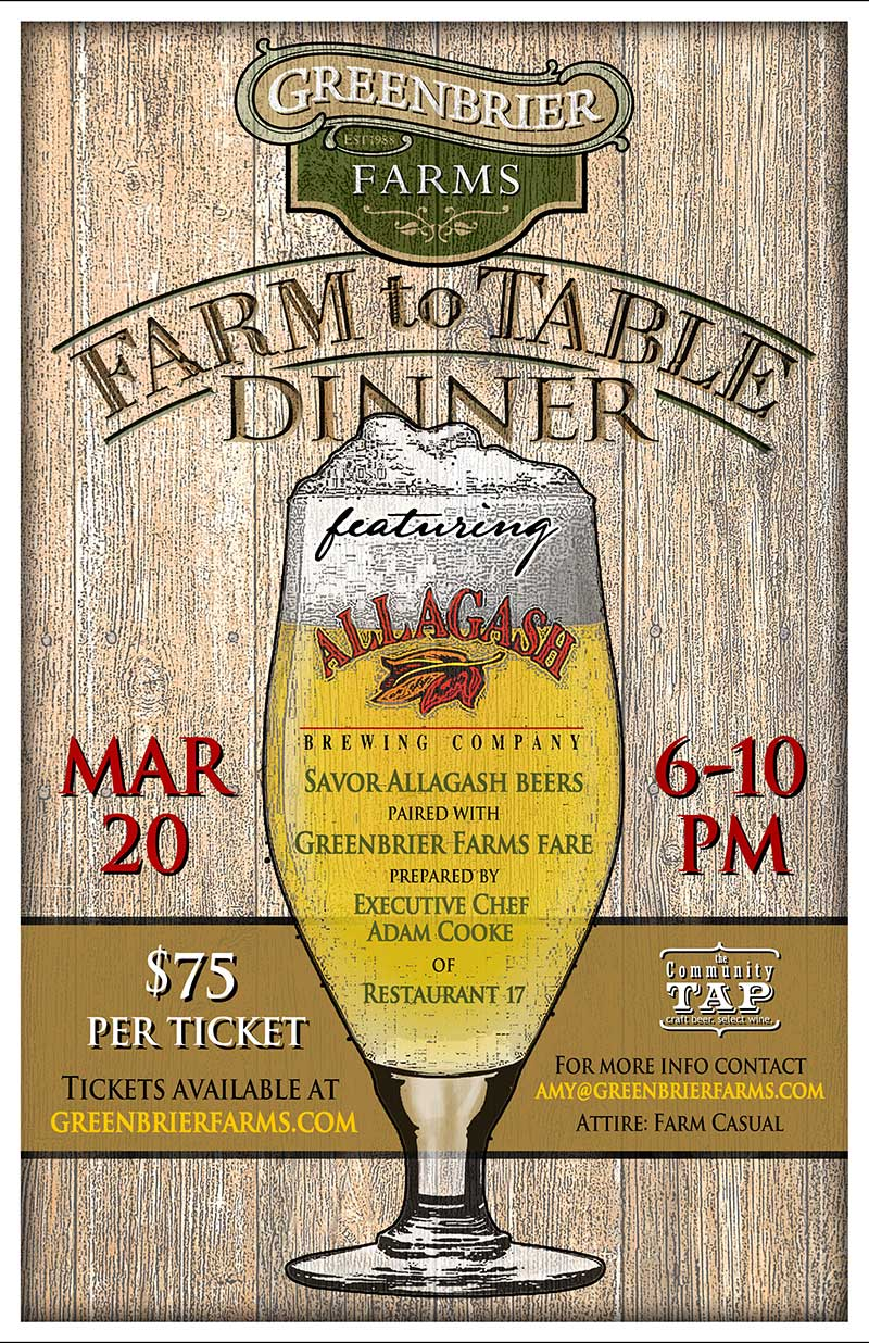 Greenbrier Farms/Allagash Brewing Farm To Table Dinner Poster