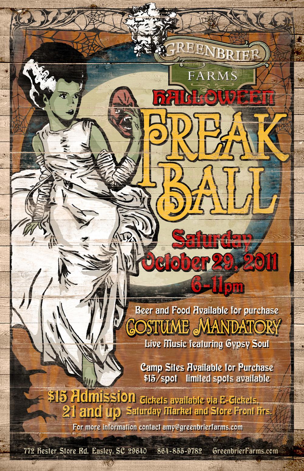 Greenbrier Farms Halloween Freak Ball Poster