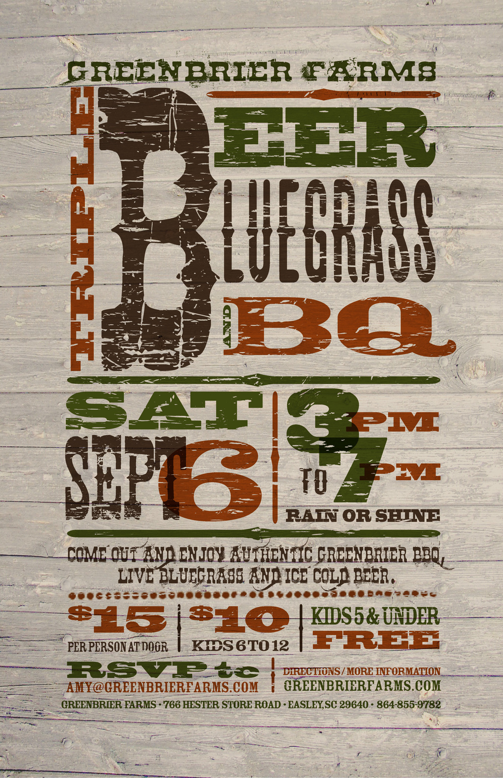 Greenbrier Farms 2014 Triple B Event Poster - Alternate