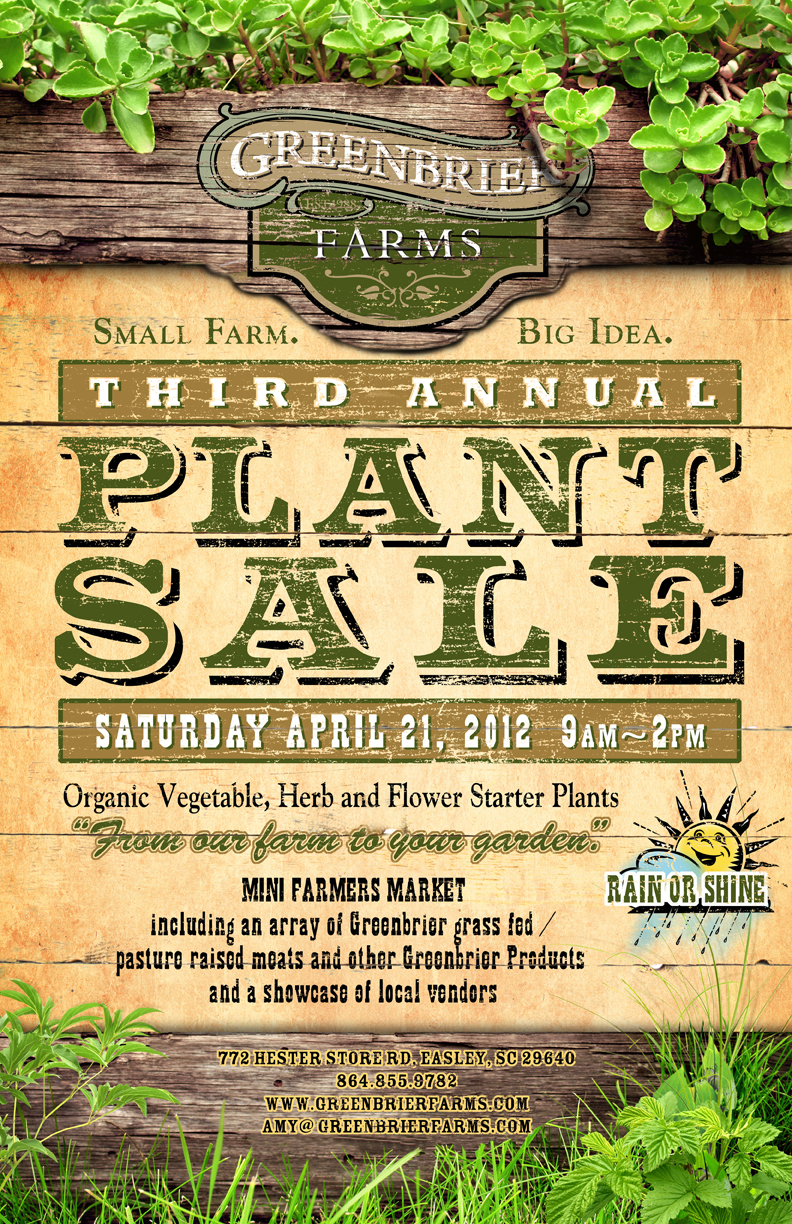 Greenbrier Farms Third Annual Plant Sale Poster