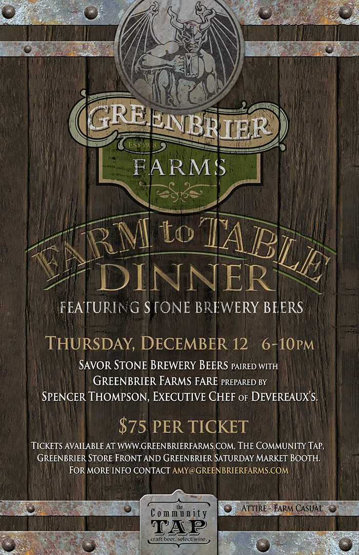 Greenbrier Farms/Stone Brewery Farm To Table Dinner Poster