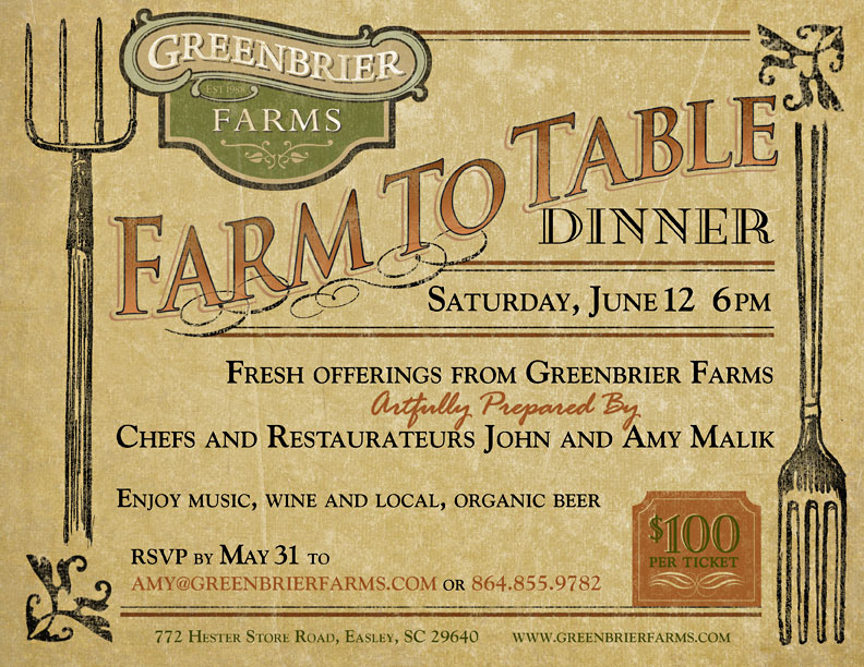 Greenbrier Farms Farm To Table Dinner Postcard