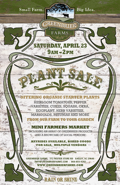 Greenbrier Farms First Annual Plant Sale Poster
