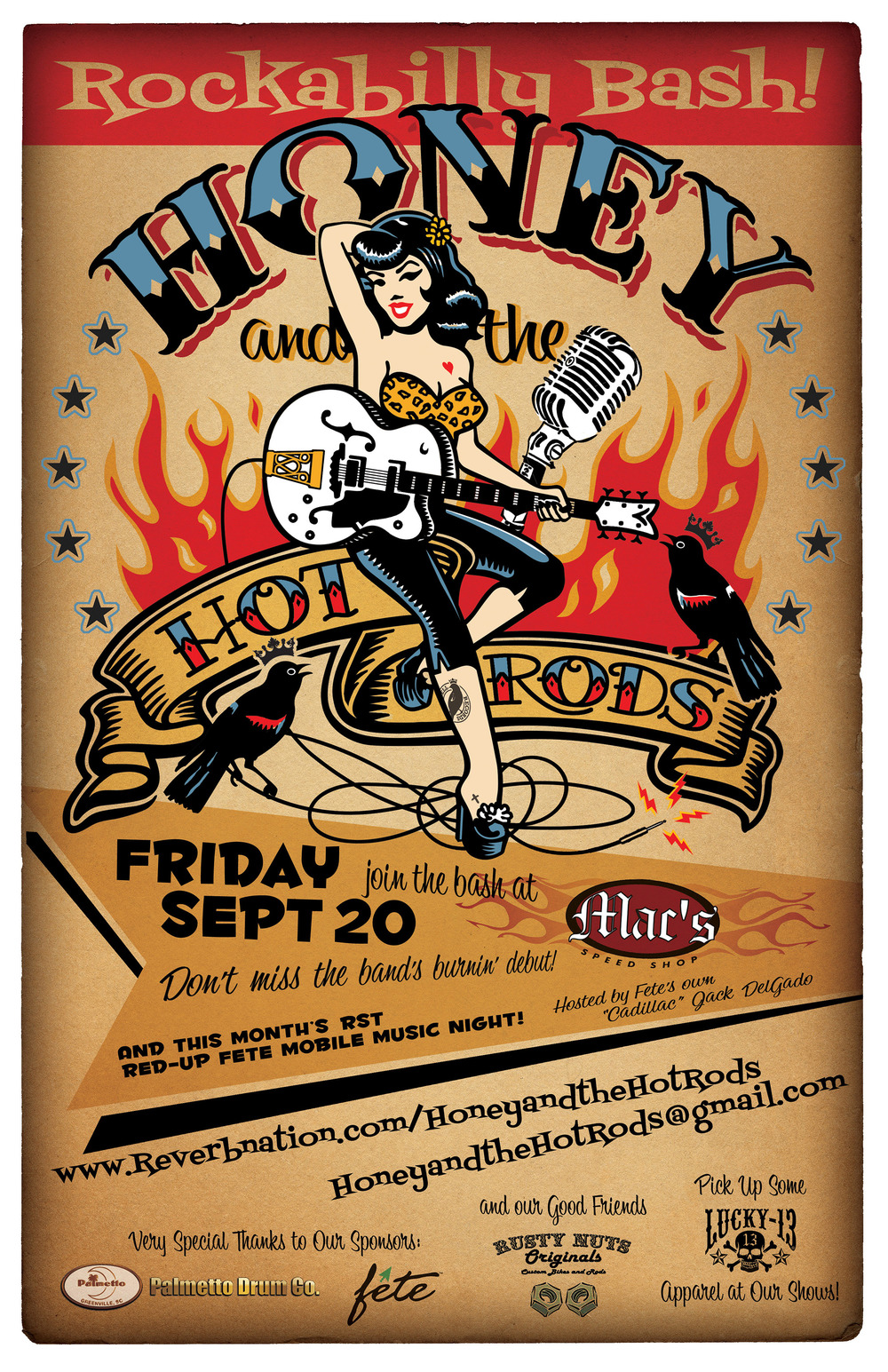 Honey and the Hot Rods Debut Gig Poster