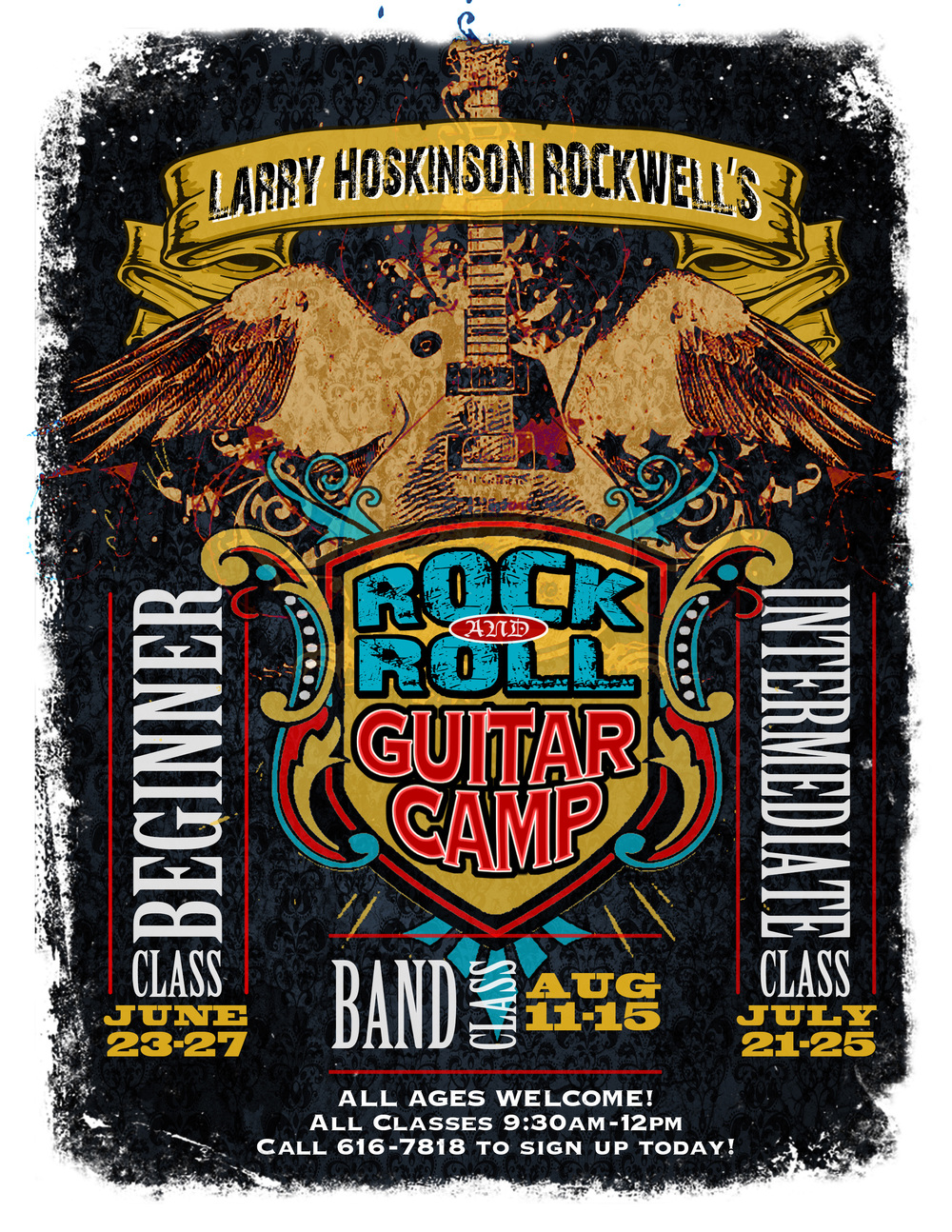 Larry Hoskinson Rockwell's Rock and Roll Guitar Camp Poster