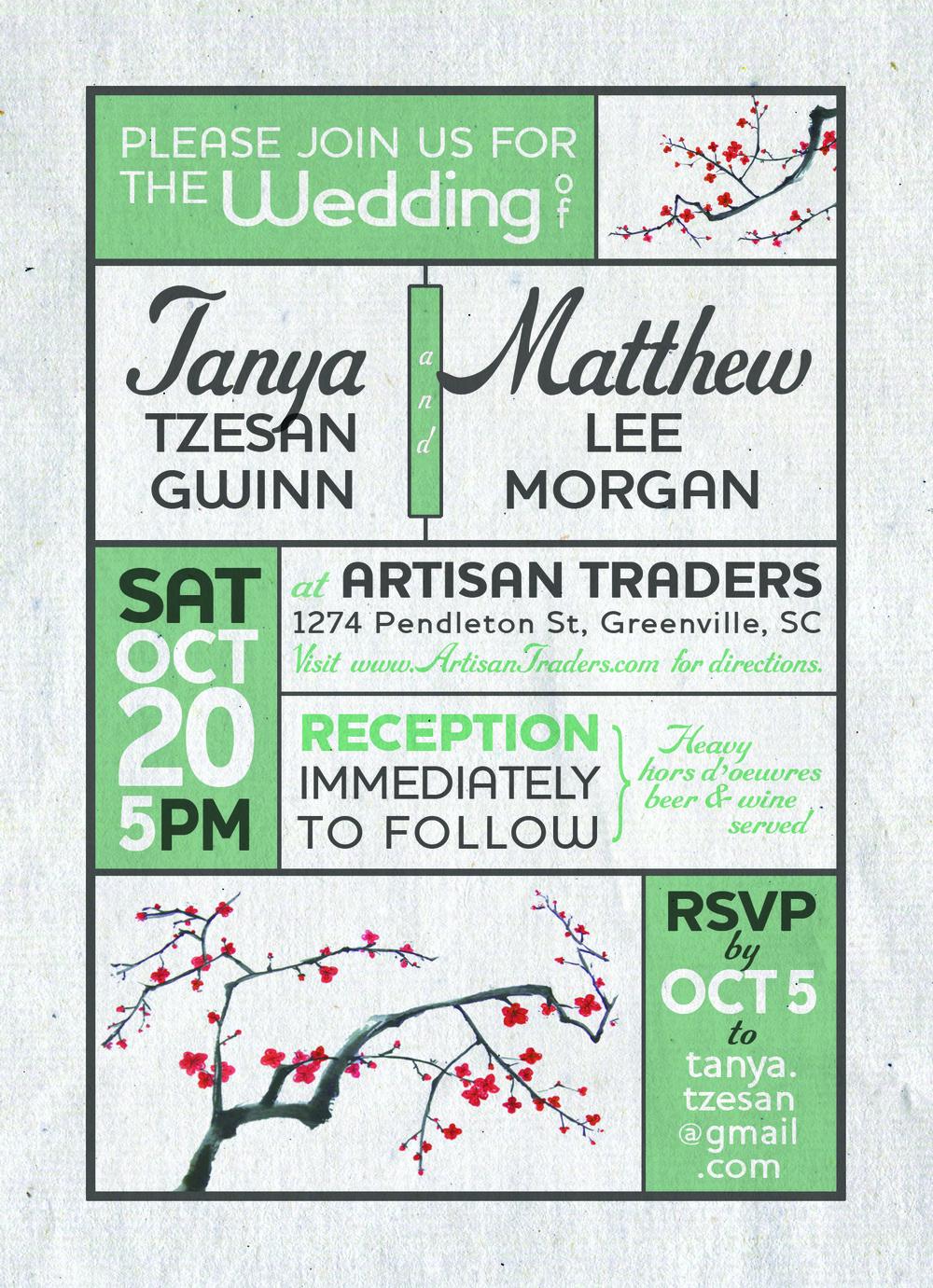 Wedding Invitation for Matt and Tanya Morgan