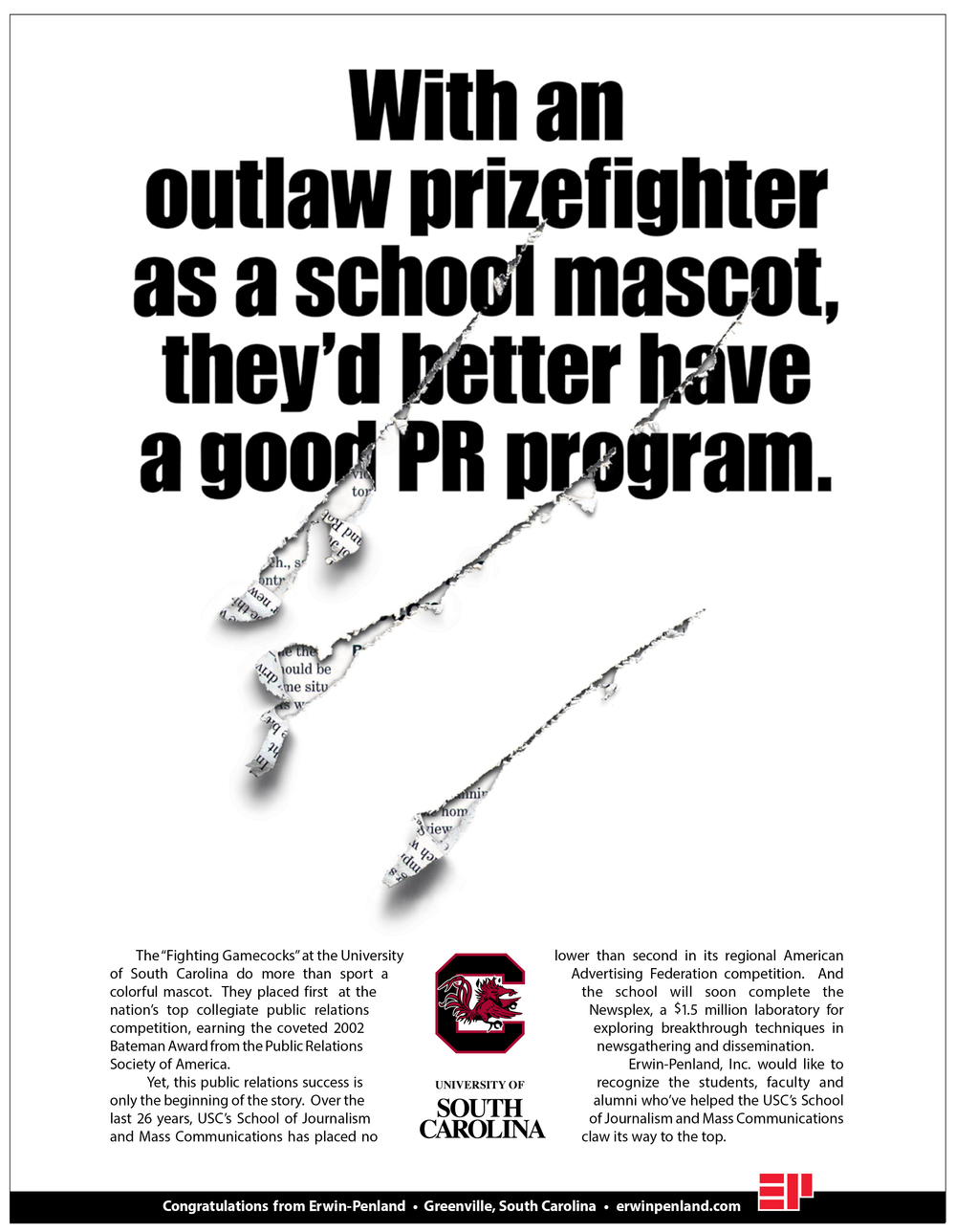 University of South Carolina PR Congratulatory Ad