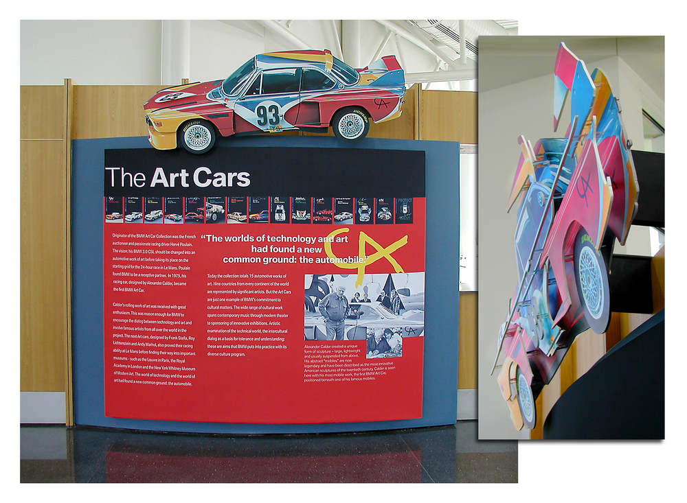 "Art Cars Display at the BMW Zentrum Visitors Center  Featured a 3-D layered art car image which ""visually shifted"" as viewers moved through the facility."