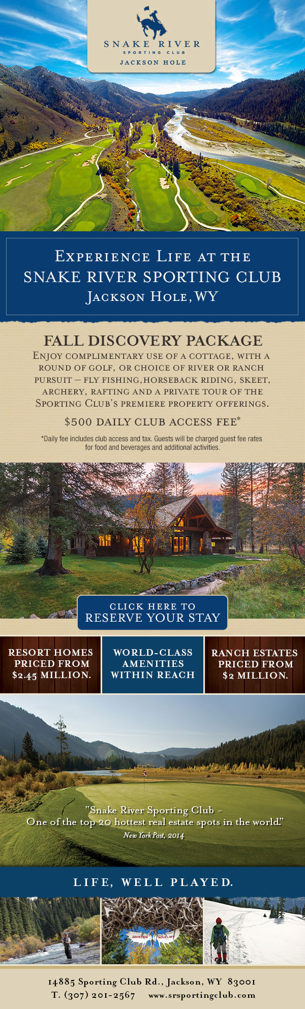 Snake River Sporting Club Fall Discovery Package Eblast