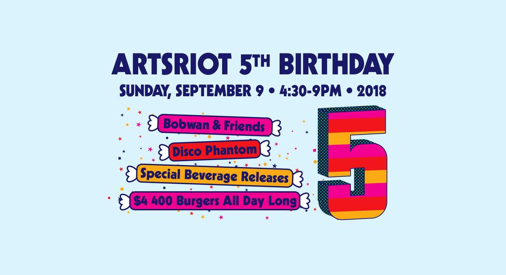 artsriot 5th birthday party burlington vermont