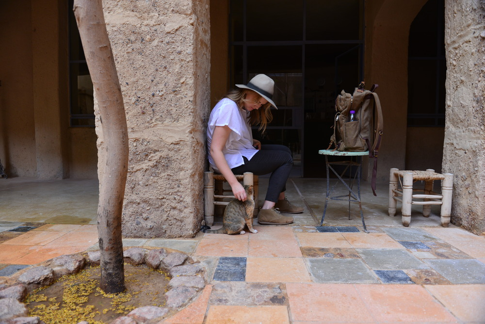 Charlotte making a new friend in the interior courtyard at Feynan Ecolodge.